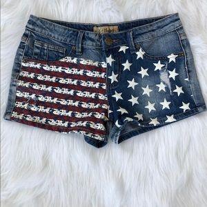 Pants - New Hybrid & Company Stars and Stripes Shorts Sz 9